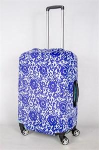 """Чехол для среднего чемодана """"синие цветы и узоры"""" 13407"""