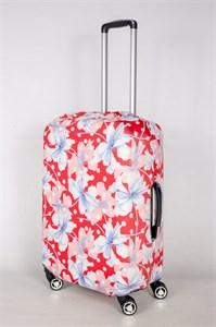 """Чехол для среднего чемодана """"белые и голубые цветы на красном фоне"""" 13409"""