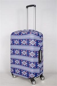 """Чехол для среднего чемодана """"синий горизонтальный орнамент"""" 13411"""