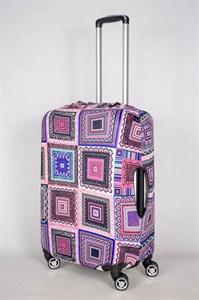 """Чехол для среднего чемодана """"квадраты фиолетового оттенка"""" 13413"""