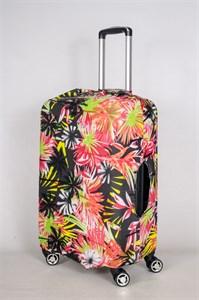 """Чехол для среднего чемодана """"яркие цветы на черном фоне"""" 13421"""