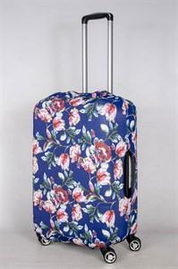 """Чехол для среднего чемодана """"бело-розовые цветы на синем фоне"""" 13425"""