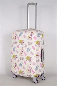 """Чехол для среднего чемодана """"слоны на светлом фоне"""" 13431"""