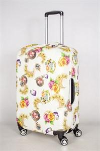 """Чехол для среднего чемодана """"пчелки/перья павлина/цветы"""" 13438"""