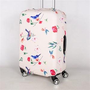 """Чехол для среднего чемодана """"птички с цветочками на бежевом фоне"""" 13406"""