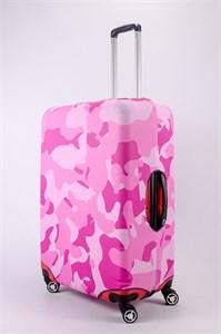 """Чехол для большого чемодана """"розовый камуфляж""""  13452"""