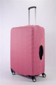 """Чехол для большого чемодана """"красно-белая клетка"""" 13454"""
