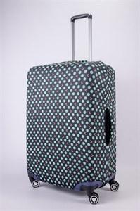 """Чехол для большого чемодана """"зеленый горошек на черном фоне"""" 13456"""