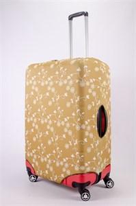 """Чехол для большого чемодана """"белые цветочки на горчичном фоне"""" 13462"""
