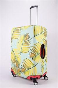 """Чехол для большого чемодана """"листья папоротника на салатовом фоне"""" 13465"""