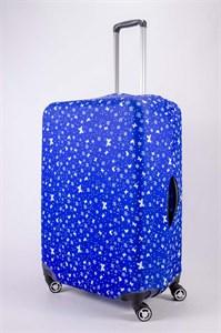 """Чехол для большого чемодана """"бабочки и снежинки на синем фоне"""" 13466"""