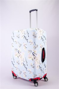 """Чехол для большого чемодана """"белая сакура на голубом фоне"""" 13471"""