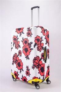 """Чехол для большого чемодана """"красно-черные цветы на белом фоне"""" 13479"""