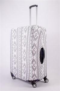 """Чехол для большого чемодана """"черные узоры на белом фоне"""" 13482"""