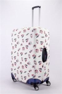 """Чехол для большого чемодана """"голубо-черно-красные растения на белом фоне"""" 13483"""