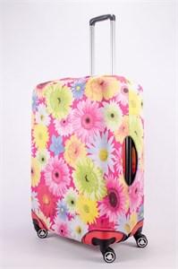 """Чехол для большого чемодана """"большие ромашки на розовом фоне"""" 13493"""