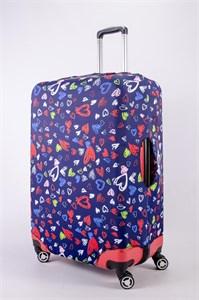 """Чехол для большого чемодана """"разноцветные сердечки на темно-синем фоне"""" 13494"""