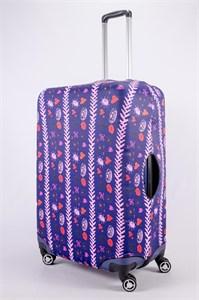 """Чехол для большого чемодана """"губы и сердца с розовой молнией"""" 13497"""