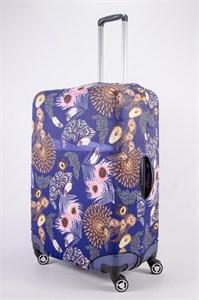 """Чехол для большого чемодана """"перья и розовые листья"""" 13501"""