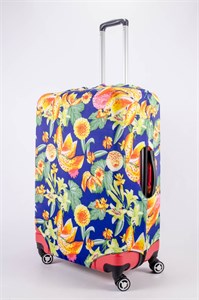 """Чехол для большого чемодана """"садовые цветы на синем фоне"""" 13502"""