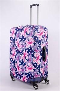 """Чехол для большого чемодана """"розовые цветы и белый горошек"""" 13503"""