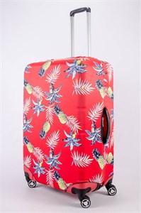 """Чехол для большого чемодана """"ананасы на красном фоне"""" 13505"""