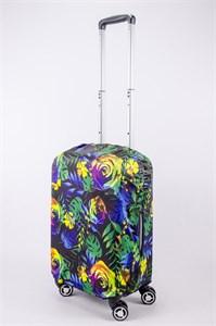 """Чехол для маленького чемодана """"разноцветные розы на черном фоне"""" 13513"""