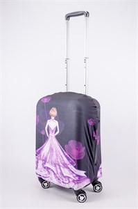 """Чехол для маленького чемодана """"девушка в фиолетовом платье"""" 13515"""