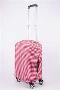 """Чехол для маленького чемодана """"красно-белая клетка"""" 13518"""