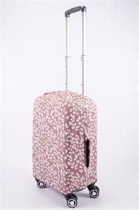 """Чехол для маленького чемодана """"белые цветочки на коричневом фоне"""" 13526"""