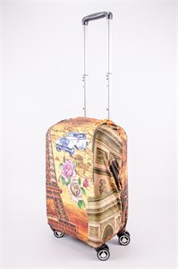 """Чехол для маленького чемодана """"Эйфелева башня/машина/розы"""" 13534"""