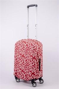 """Чехол для маленького чемодана """"белые цветочки на красном фоне"""" 13545"""