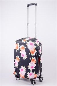 """Чехол для маленького чемодана """"оранжевая и розовая роза на черном фоне"""" 13548"""