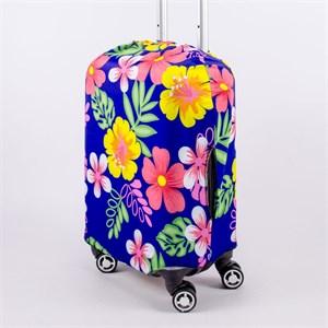 """Чехол для маленького чемодана """"цветы на синем фоне"""" 13521"""