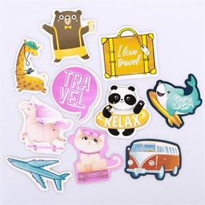 Наклейки на чемодан «Милые путешественники», 8 × 8 см  4231973