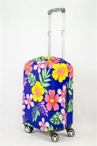 """Чехол для маленького чемодана """"разноцветные цветы на синем фоне"""" 13616"""