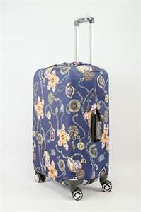 """Чехол для среднего чемодана """"цепи и цветы на синем фоне"""" 13619"""