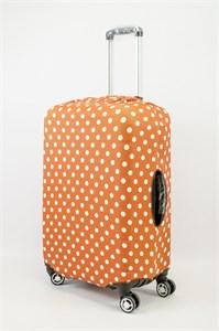 """Чехол для среднего чемодана """"белый горошек на оранжевом фоне"""" 13620"""