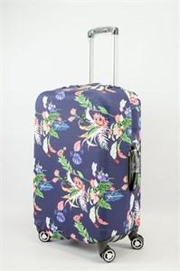 """Чехол для среднего чемодана """"разноцветные цветы на темно-синем фоне"""" 13622"""
