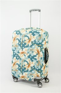 """Чехол для среднего чемодана """"желтые цветы и белый горошек зеленом фоне"""" 13624"""