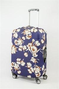 """Чехол для среднего чемодана """"бело-коричневые цветы на синем фоне"""" 13632"""
