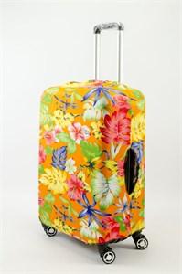 """Чехол для среднего чемодана """"разноцветные цветы на оранжевом фоне"""" 13627"""