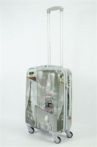 Чемодан маленький ABS Рисунок Эйфель/Такси/Автобус ver.2