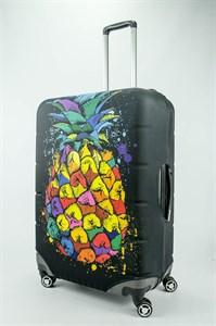 """Чехол для большого чемодана """"разноцветный ананас на черном фоне""""  13696"""