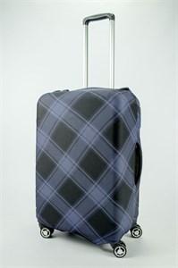"""Чехол для среднего чемодана """"Темно-синяя клетка"""" 13692"""