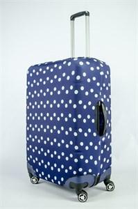 """Чехол для большого чемодана """"белый горошек на синем фоне"""" 13861"""