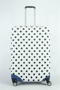 """Чехол для большого чемодана """"черный горошек на белом фоне"""" 13859"""