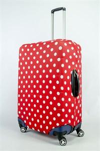 """Чехол для большого чемодана """"белый горошек на красном фоне"""" 13858"""
