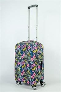 """Чехол для маленького чемодана """"маленькие цветочки на темно-синем фоне"""" 13887"""