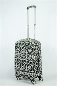 """Чехол для маленького чемодана """"светлый орнамент на черном фоне"""" 13888"""